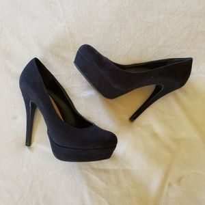 LC Black Suede Heels